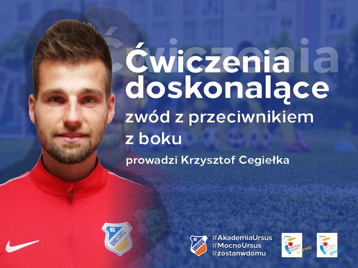 Trening doskonalący zwód z przeciwnikiem z boku prowadzi Krzysztof Cegiełka