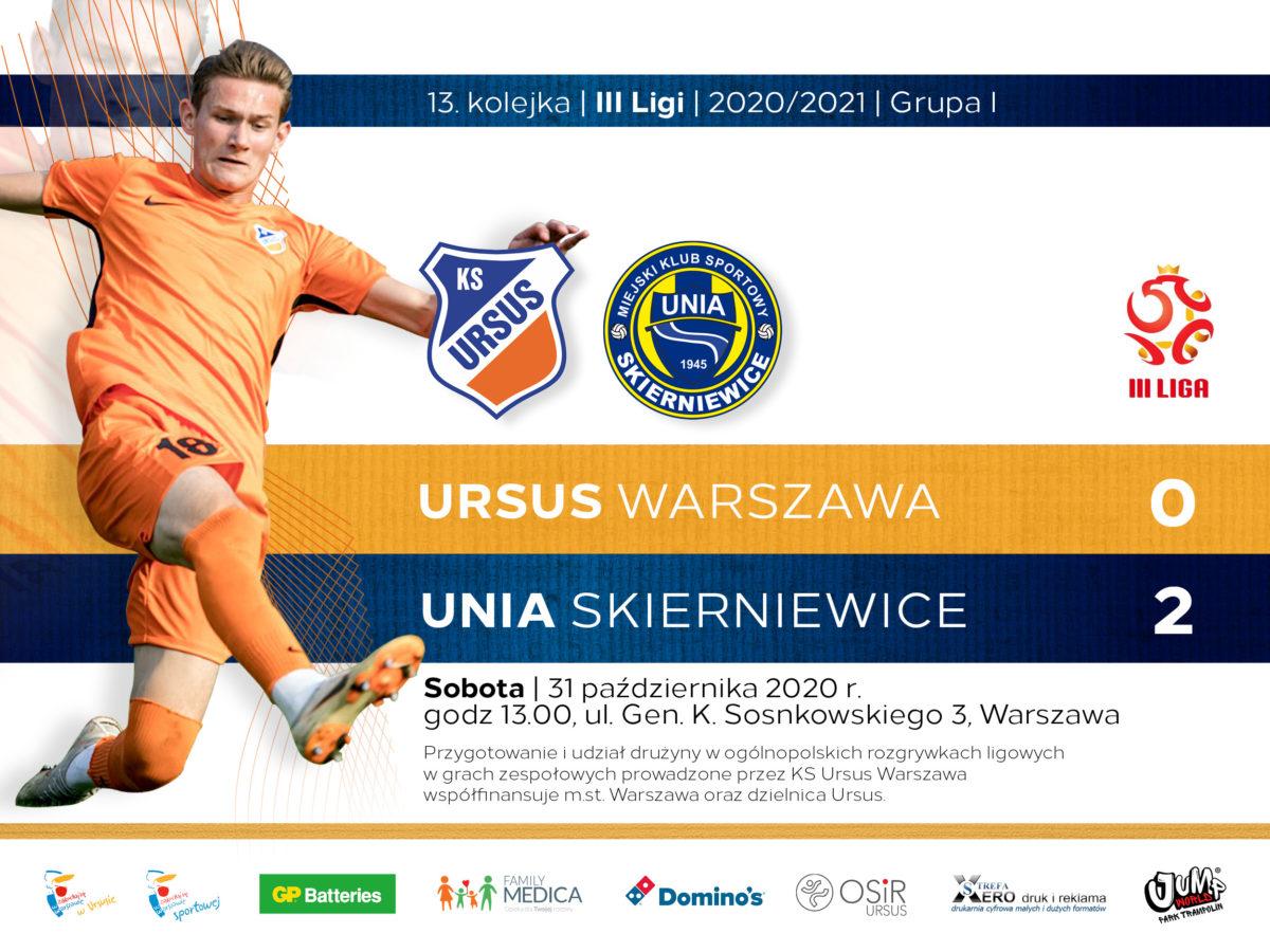 Ursus Warszawa vs Unia Skierniewice wynik